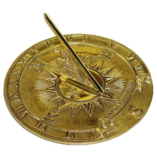 Rome 2314 Nautical Sundial, Solid Polished Brass, 8.5-Inch Diameter