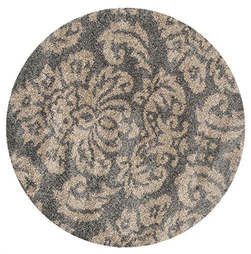 Safavieh Florida Shag Collection SG460-8013 Grey and Beige Round Area Rug (5′ in Diameter)