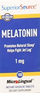 Superior Source Melatonin 1mg With Chamomile Instant Dissolve Tablets - Non Addictive Sleep Aid - Sublingual Melatonin - Natural Sleeping Pills for Adults 100 Count