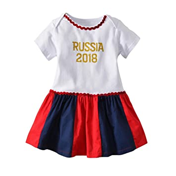 44c540a88e5 Amazon.com  Newborn Infant Toddler Baby Girl Summer Dress Cuekondy 2018  Soccer Print Russia Football Romper Dresses Outfit for 3-18 Months (6M