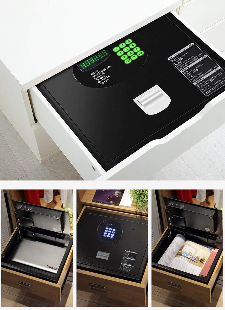 Cassaforte muro Cassetta di sicurezza con tastiera digitale 41 /× 35 /× 15 cm ufficio nero Cassette di sicurezza ad apertura superiore per ufficio dormitorio universitario per casa Color : A