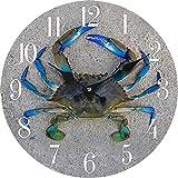 New 13''X 13'' Crab Wood Wall Clock Home Wall Decor Marine Coastal Nautical Beach