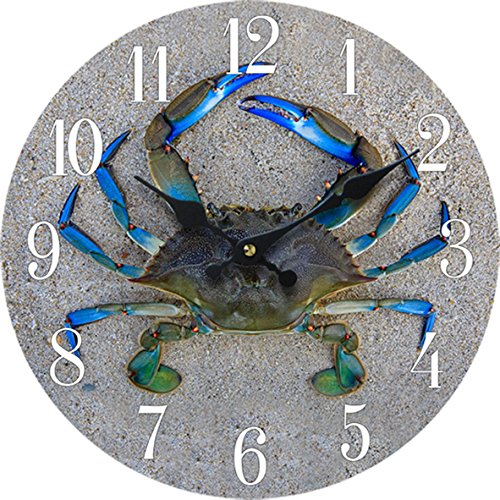 New-13X-13-Crab-Wood-Wall-Clock-Home-Wall-Decor-Marine-Coastal-Nautical-Beach