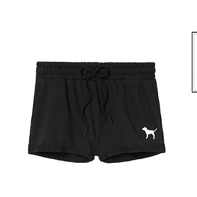 ed0305aed6d2e VS PINK Victoria's Secret Pink Pure Black Dog Logo High Waist Shorts ...