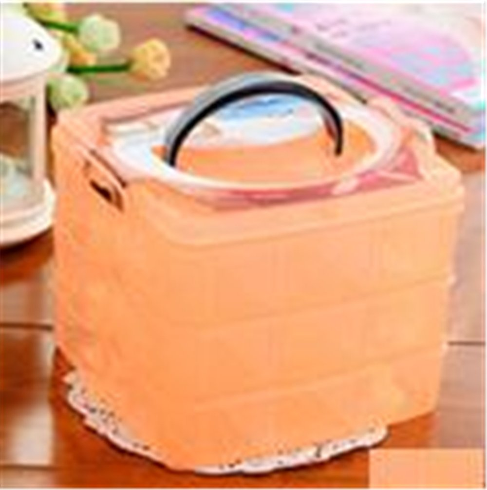 Eco-Friendly Makeup Organizer Three Removable Transparent Plastic Storage Box Grid Cosmetic Hair Accessories Multi-compartment Kangsanli (orange)