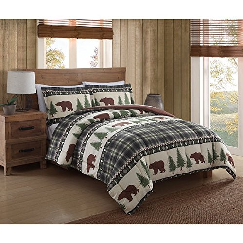 Outdoor Pine Bed - 3 Piece Southwest Cabin Brown Bear Comforter Full Queen Set, Forest Woods Hunting Themed Bedding, Outdoors Log Lodge Nature Print, Green Plaid, Pine Trees, Southern Cottage Pattern, Wilderness Game