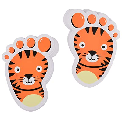 Bluecell 15-Pairs Cartoon Animals Guide Self-Adhesive Footprints Stickers Floor Decals for Kids Room Party Nursery Floor Stairs Decor (Tiger (Orange)): Arts, Crafts & Sewing