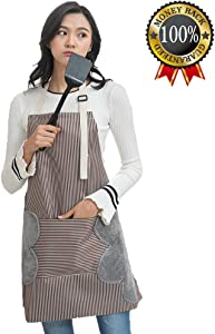 Adjustable Bib Apron with Pockets - 2 Side Coral Velvet Towels Stitched Durable Pinstripe Waterproof Cooking Aprons Suitable for Home Kitchen, Grill, Restaurant Even Garden Craft Coffee