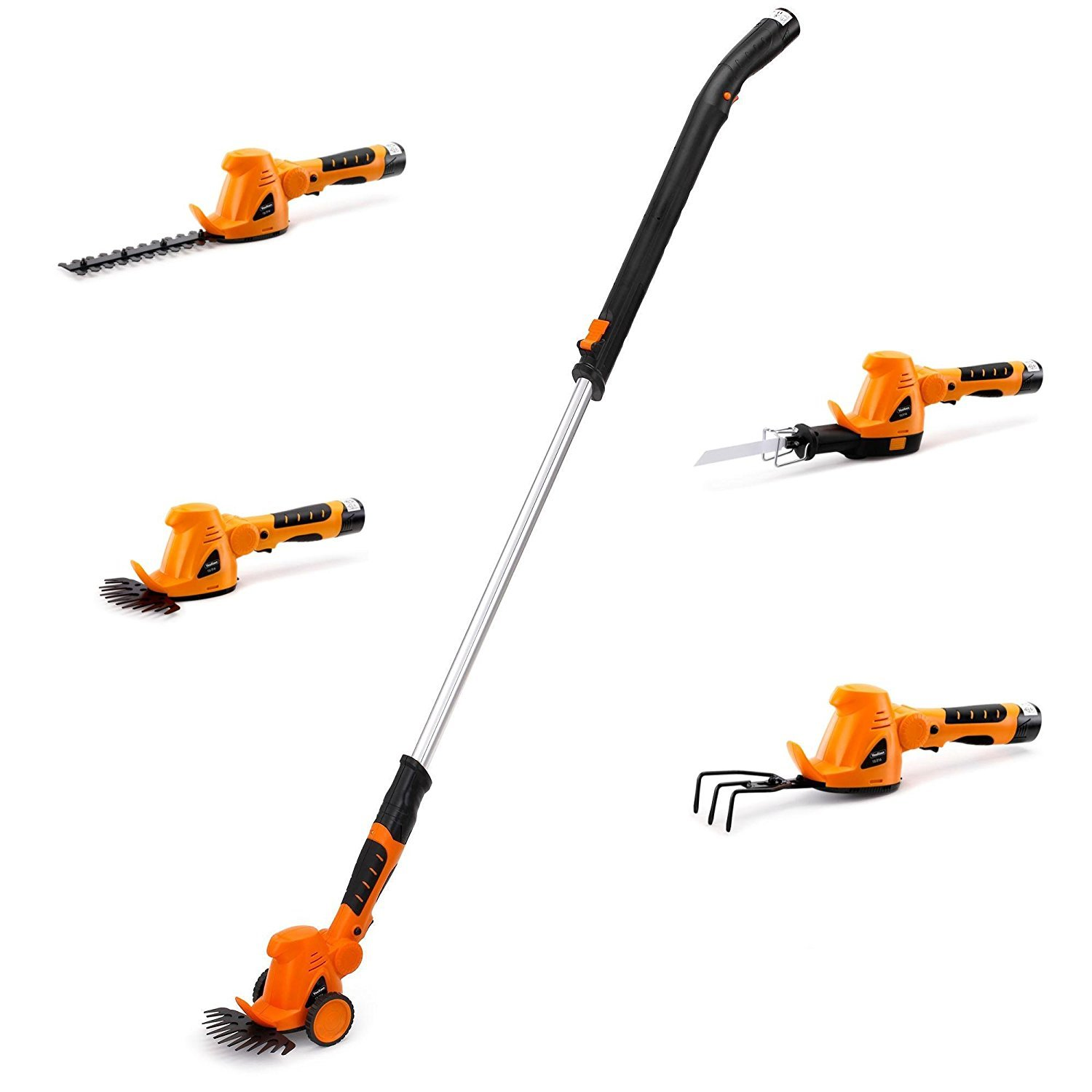 VonHaus 4 in 1 Cordless 10.8V Compact Handheld Grass Shears, Hedge Trimmer, Reciprocating Saw and Cultivator - with Wheeled Extension Handle