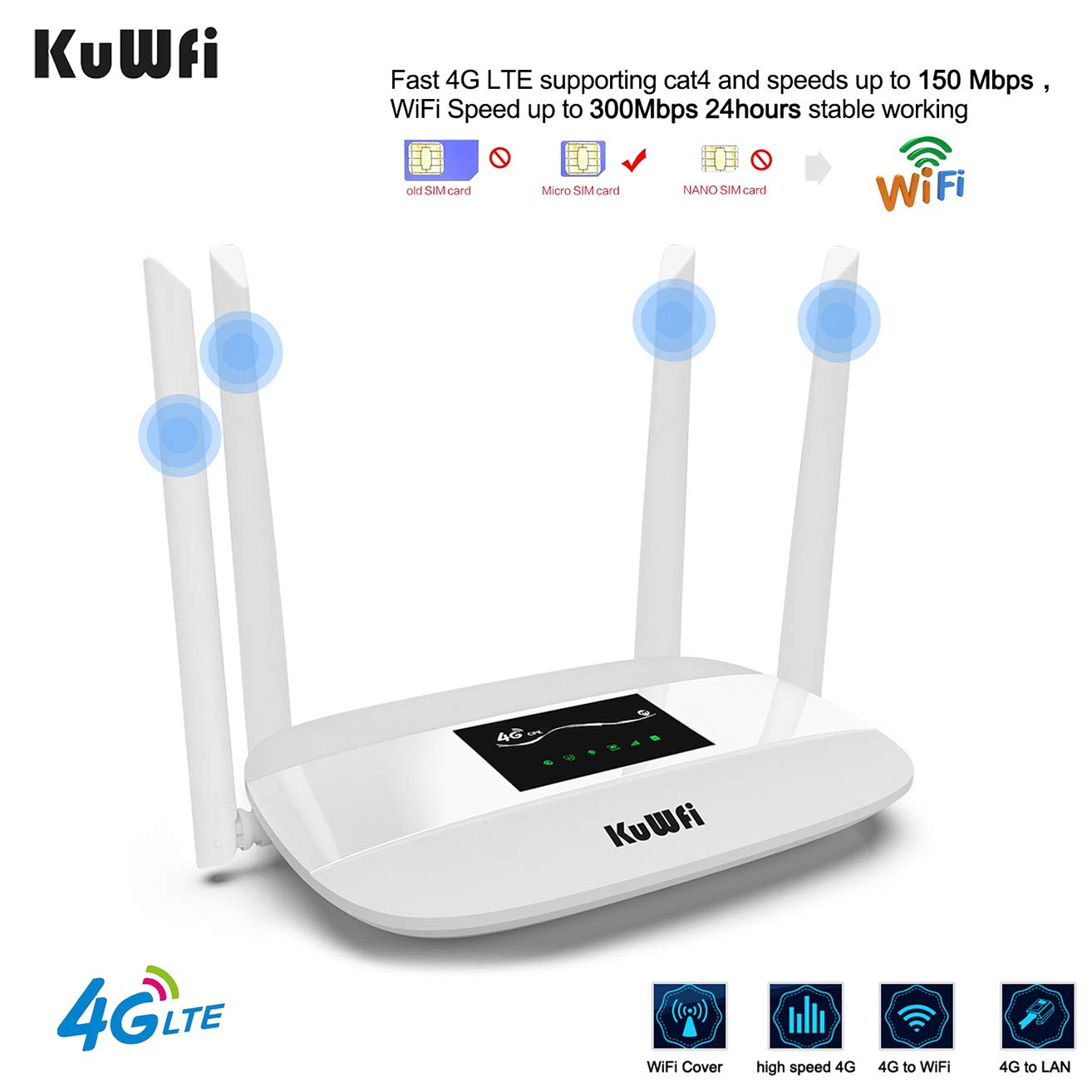 KuWFi 4G LTE CPE Wireless WiFi Router 300Mbps Unlocked with SIM Card Solt with 4pcs Antenna for CA/USA/MX and a Few Central American Countries by KuWFi