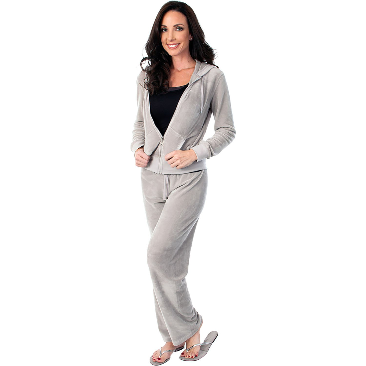 Agiato Womens Zip Up Plush Soft Velour Jogging Track Suit (Gray, Medium)