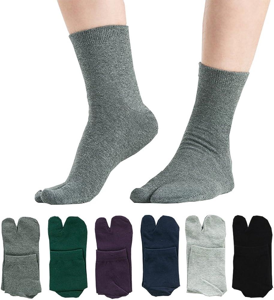 Men's Tabi Flip Flop Socks Athletic Cotton Crew Two Toe 5/6 Pack