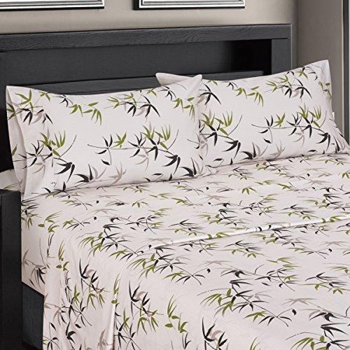 Fern Floral Sateen Cotton Sheets, 4pc Queen Bed Sheet Set 100% Cotton, Superior Sateen Weave, Silky Soft, Deep Pocket, Modern Reactive Print, 300 Thread (Fern Printed)