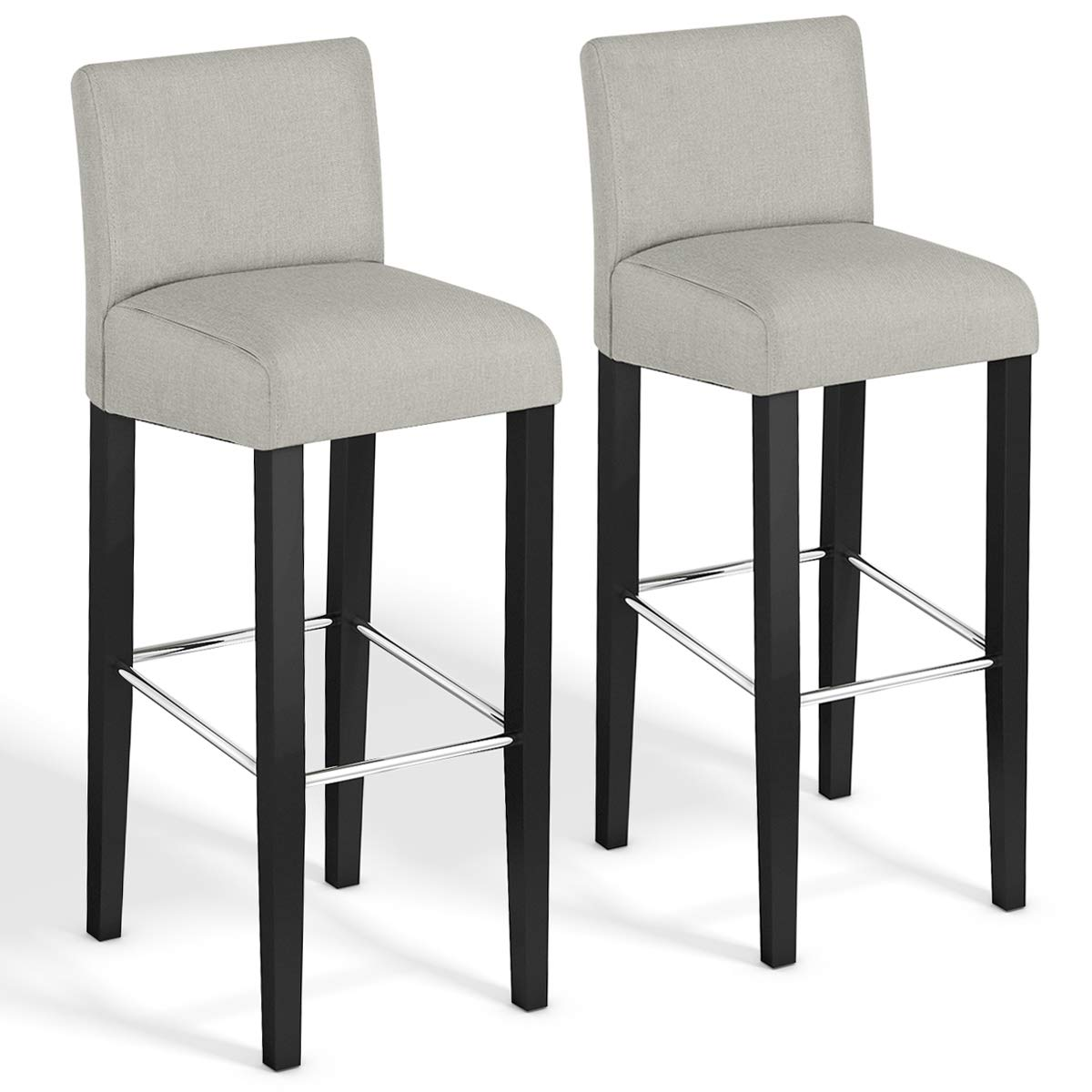 COSTWAY Bar Stool, Modern 40'' Contemporary Bar Stool with Height Fabric Padded Backrests and Seats Barstools with Solid Wood Legs Pub Bistro Kitchen Dining Side Chair (Beige, Set of 2) by COSTWAY