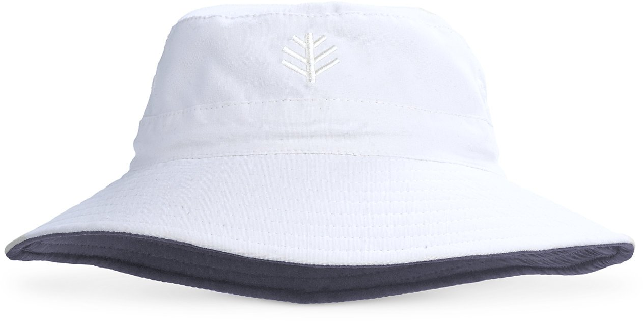 Coolibar UPF 50+ Kids' Cruiser Reversible Bucket Hat - Sun Protective (Small/Medium- White/Carbon)