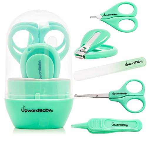 5 in 1 Baby Nail Clippers and Scissors Set - UpwardBaby Newborn Infant Manicure Grooming Kit for Kids Toddlers