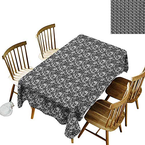 Mannwarehouse Black and White Dustproof Rectangular Tablecloth Monochrome Lace with Flowers and Ornamental Swirls Vintage Inspirations and Durable W60 x L90 Black White