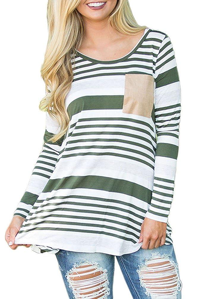 Chvity Women's Crewneck Elbow Patch Striped Long Sleeve T-Shirt Blouse Tops