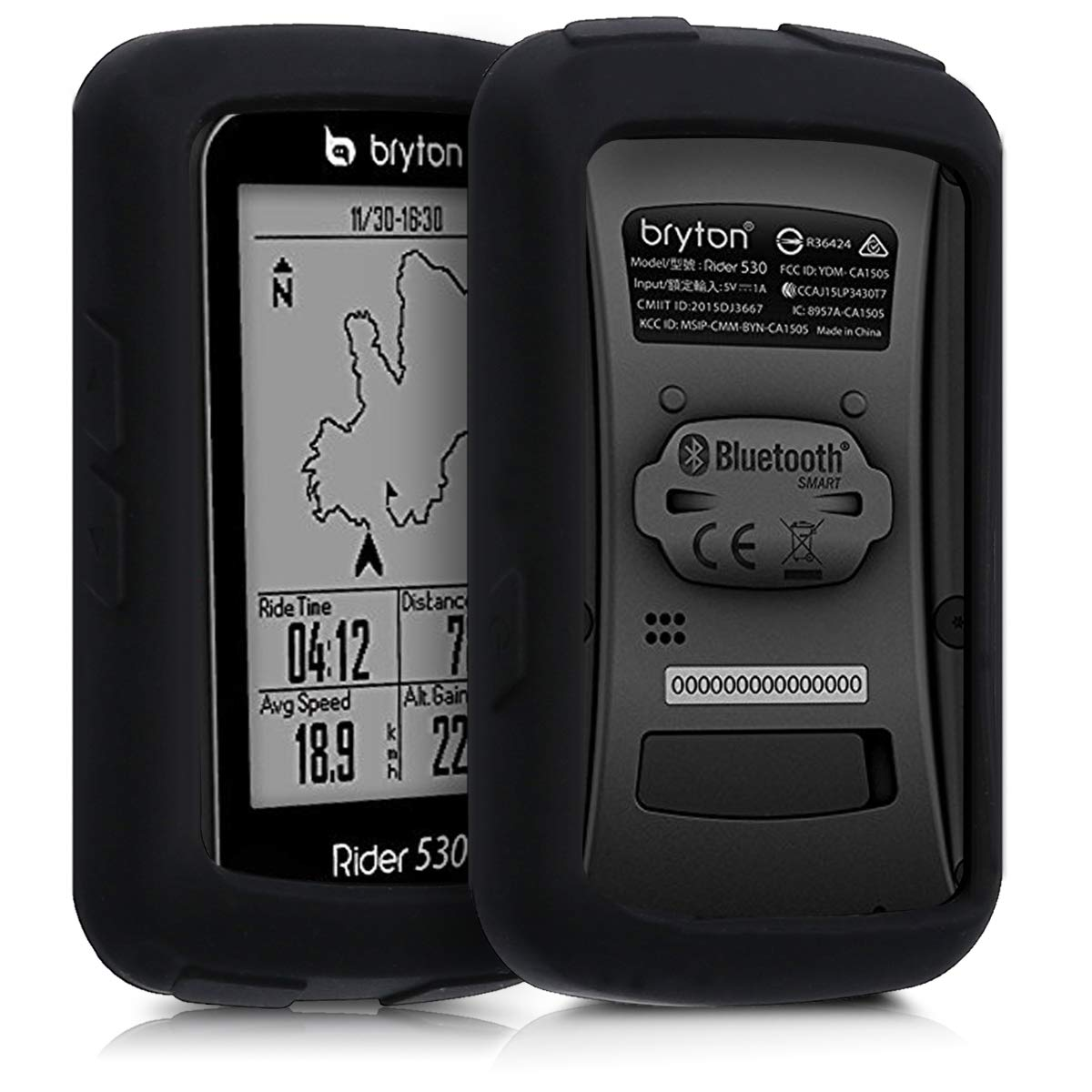 kwmobile Case for Bryton Rider 530 - Soft Silicone Bike GPS Navigation System Protective Cover - Black