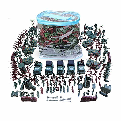 ZHENDUO 1:42 Scale Big Bucket of 307 Pieces/Set Plastic Civil War Army Men Toy Soldier Set Action Figure Tank Playset Model Handbag Kit for Kids Ages 3 and up Christmas (Soldier Model)