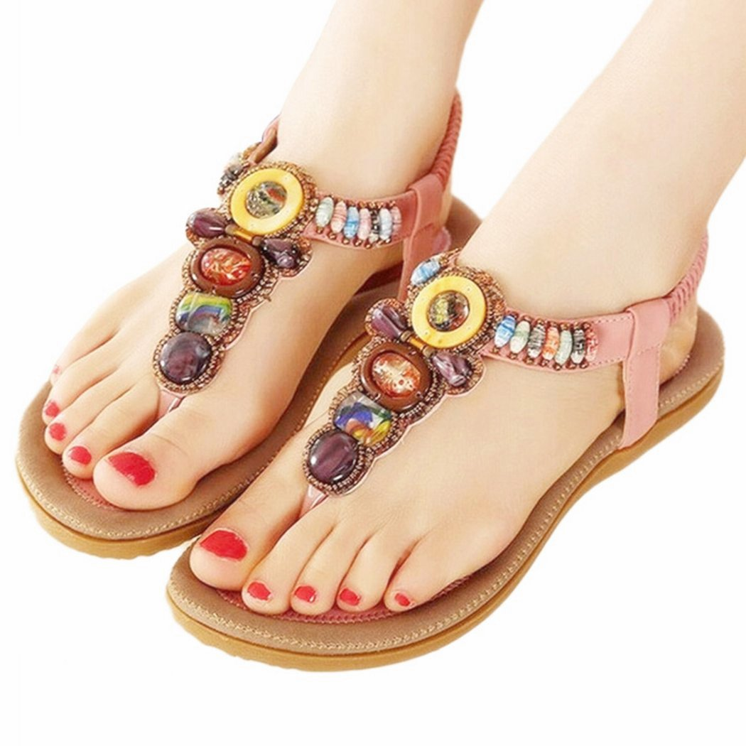 Women's Bling Crystal Rhinestone Silver Flip Flops Flat Sandals Ankle Strap Open-Toe Shoes in Bohemian Style