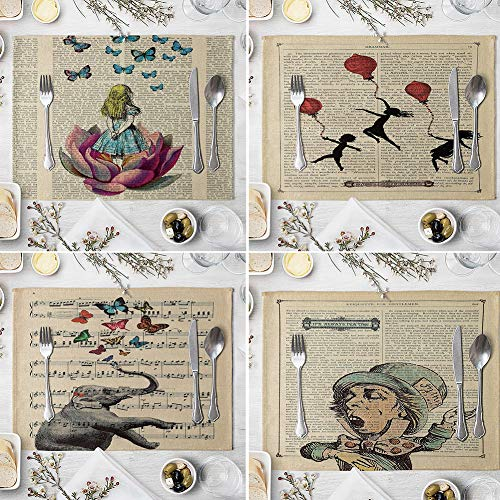memorytime Animal Girl Book Page Heat Insulated Pad Kitchen Dining Table Mat Placemat Decor Kitchen Dining Supplies - 2# by memorytime (Image #4)