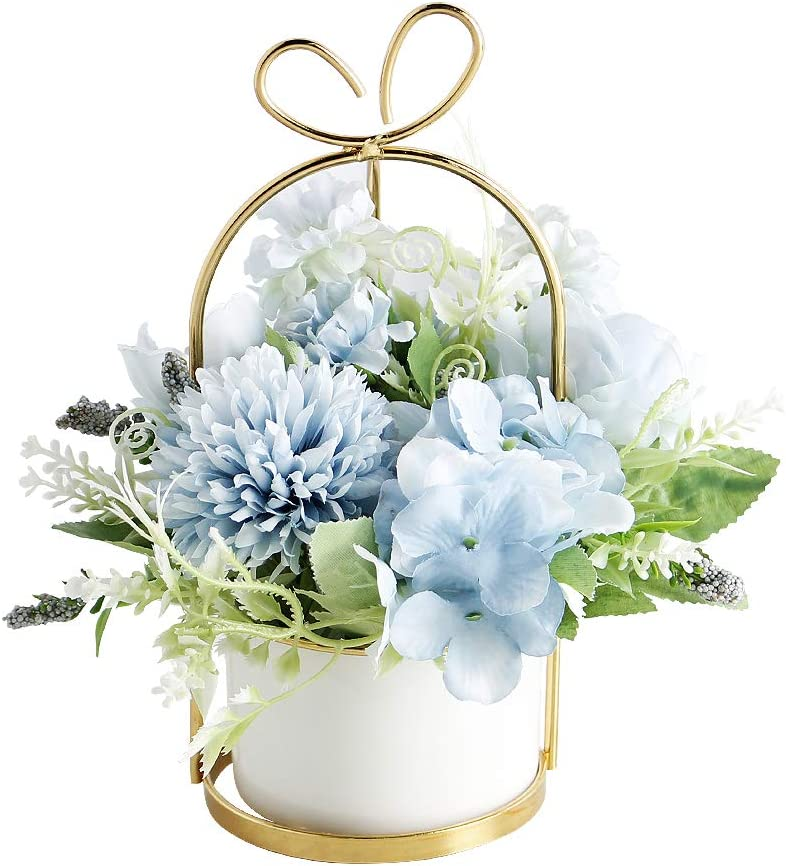 Artificial Flowers Hydrangea with Ceramic Vase Silk Chrysanthemum Mini Potted Fake Flowers Hanging Potted Plants for Wedding Home Office Decoration Pack of One (Blue)