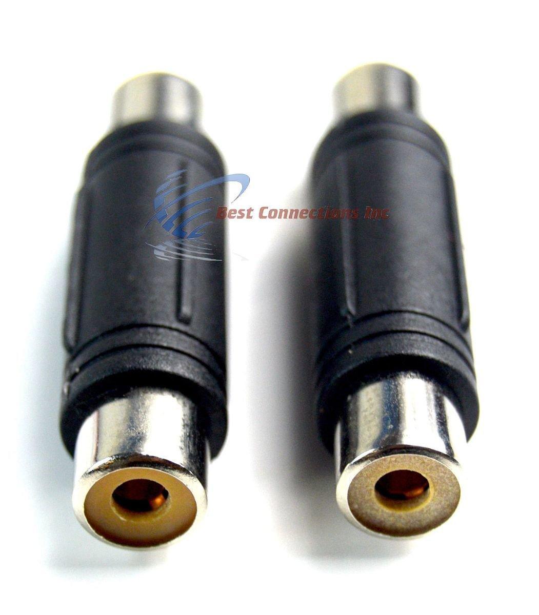 10 unidades cable de cable de oro rca hembra a hembra acoplador Joiner Barril Conectores: Amazon.es: Electrónica
