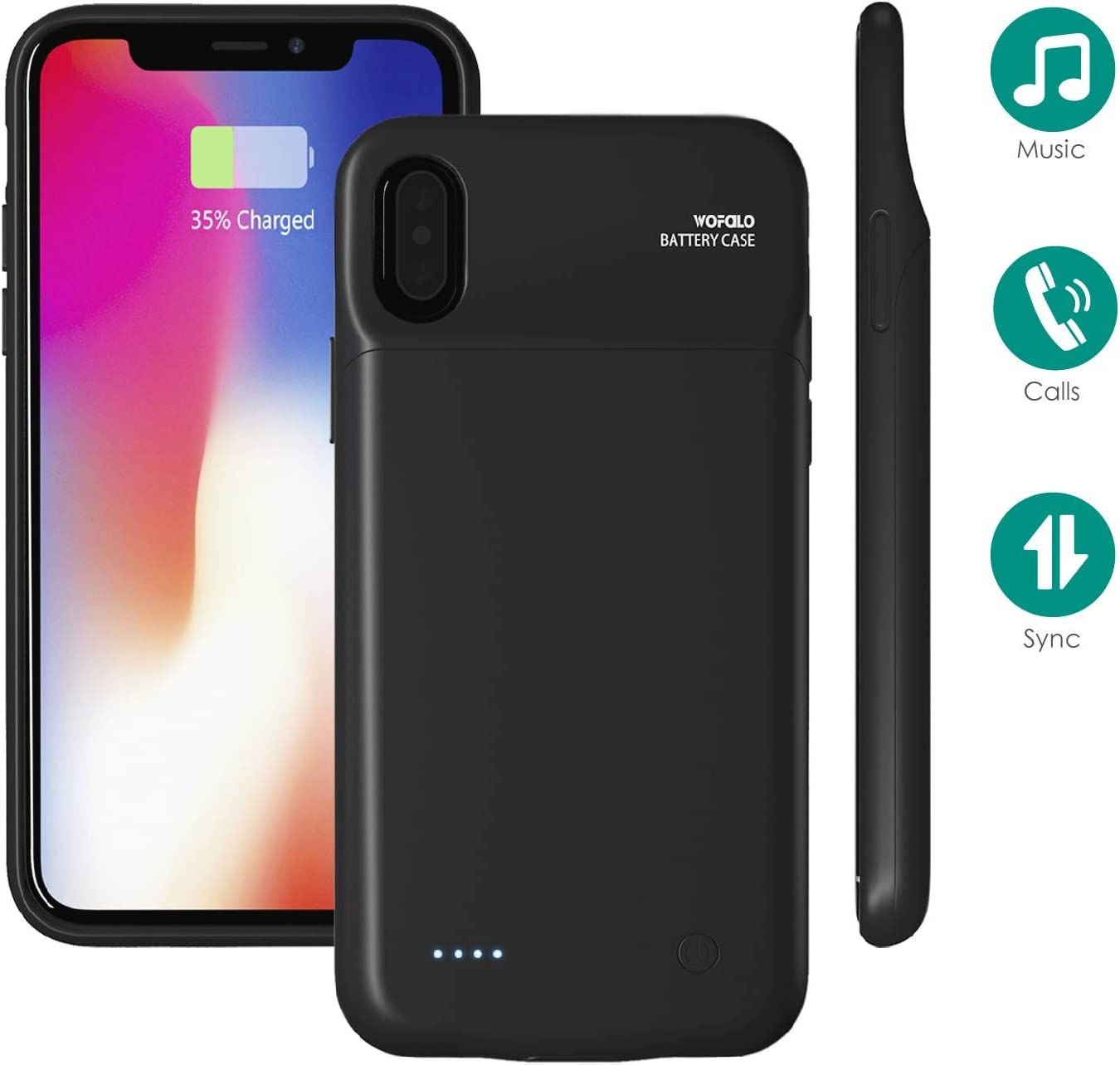 iPhone X Battery Case, Wofalo 3200mAh Portable Rechargeable Extended Backup Battery Charging Juice Pack,External Power Bank,Protective Case Cover for
