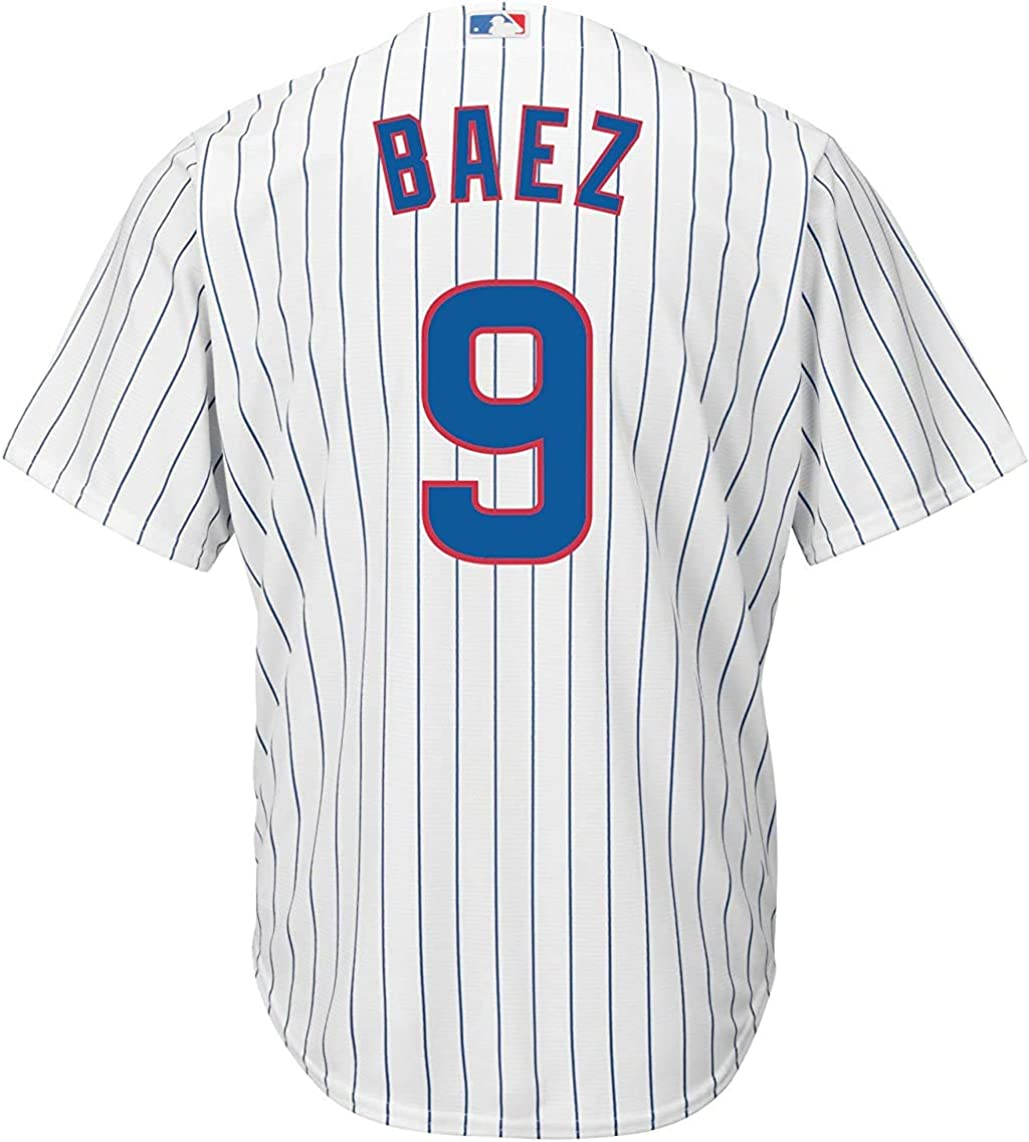 Outerstuff Javier Baez Chicago Cubs #9 White Youth Cool Base Home Replica Jersey