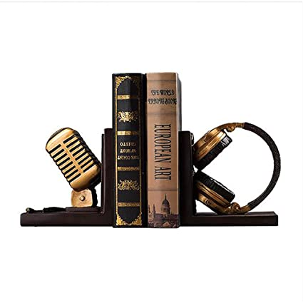 Etonnant Office Desktop Bookends,Microphone Book By Art Bookends Vintage [household]  [study]