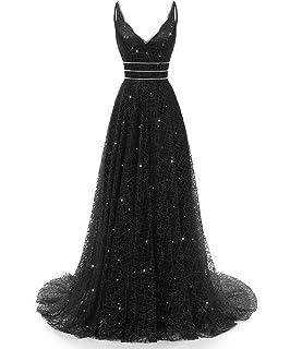 3d0971fb441f RJOAM-Prom Dresses Long Beaded Deep V-Neck&Back Sparkling Princess Tull  Dresses 2019 Party