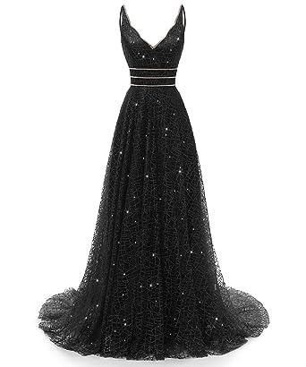 d142552ae RJOAM-Prom Dresses Long Beaded Deep V-Neck&Back Sparkling Princess Tull  Dresses 2019 Party
