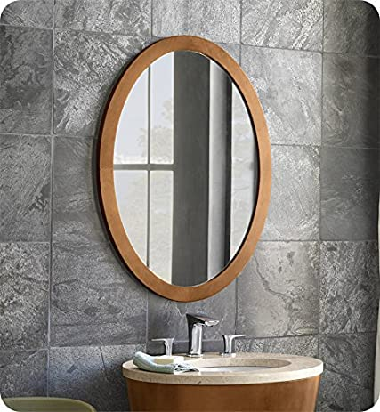 Ronbow 600023 Contemporary Solid Wood Framed Oval Bathroom Mirror