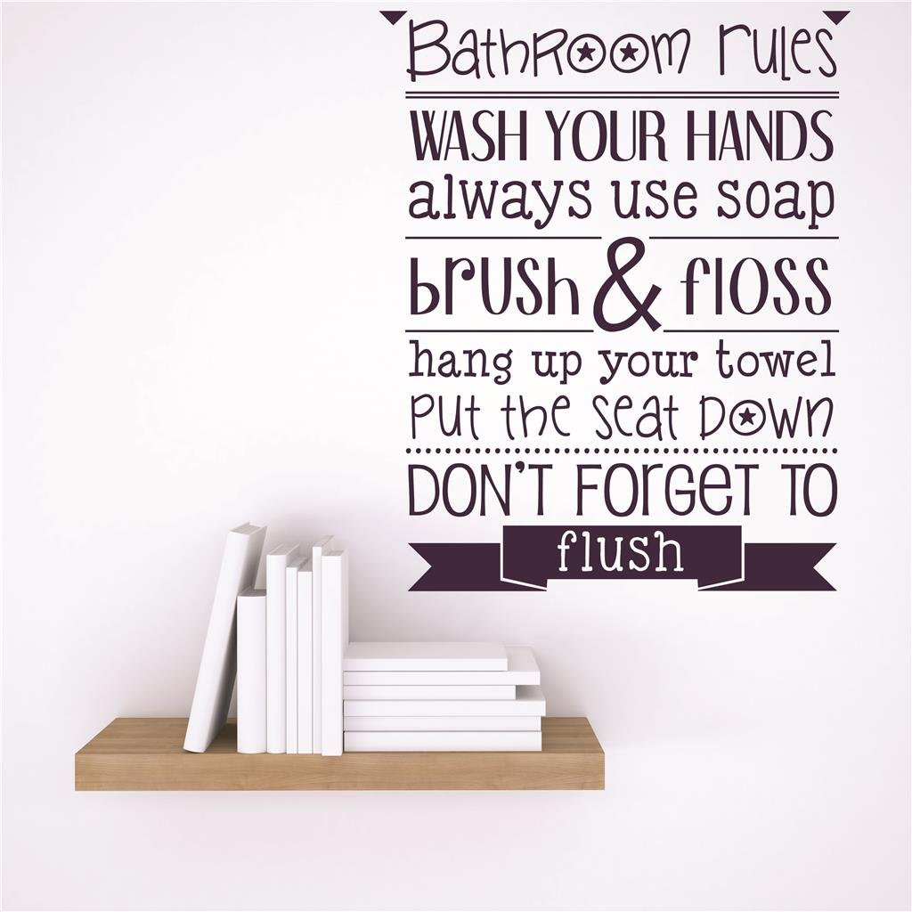 Design with Vinyl RAD 47 2 Decor Wall Decal Sticker : Bathroom Rules Wash Your Hands Always Use Soap Brush & Floss Hang Up Your Towel Put The Seat Down Don\'t Forget to Flush Quote, 15 x 15 15 x 15
