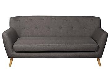 The One Berlin Modernes 3 Sitzer Sofa Grau Stoff 3 Sitzer Sofa