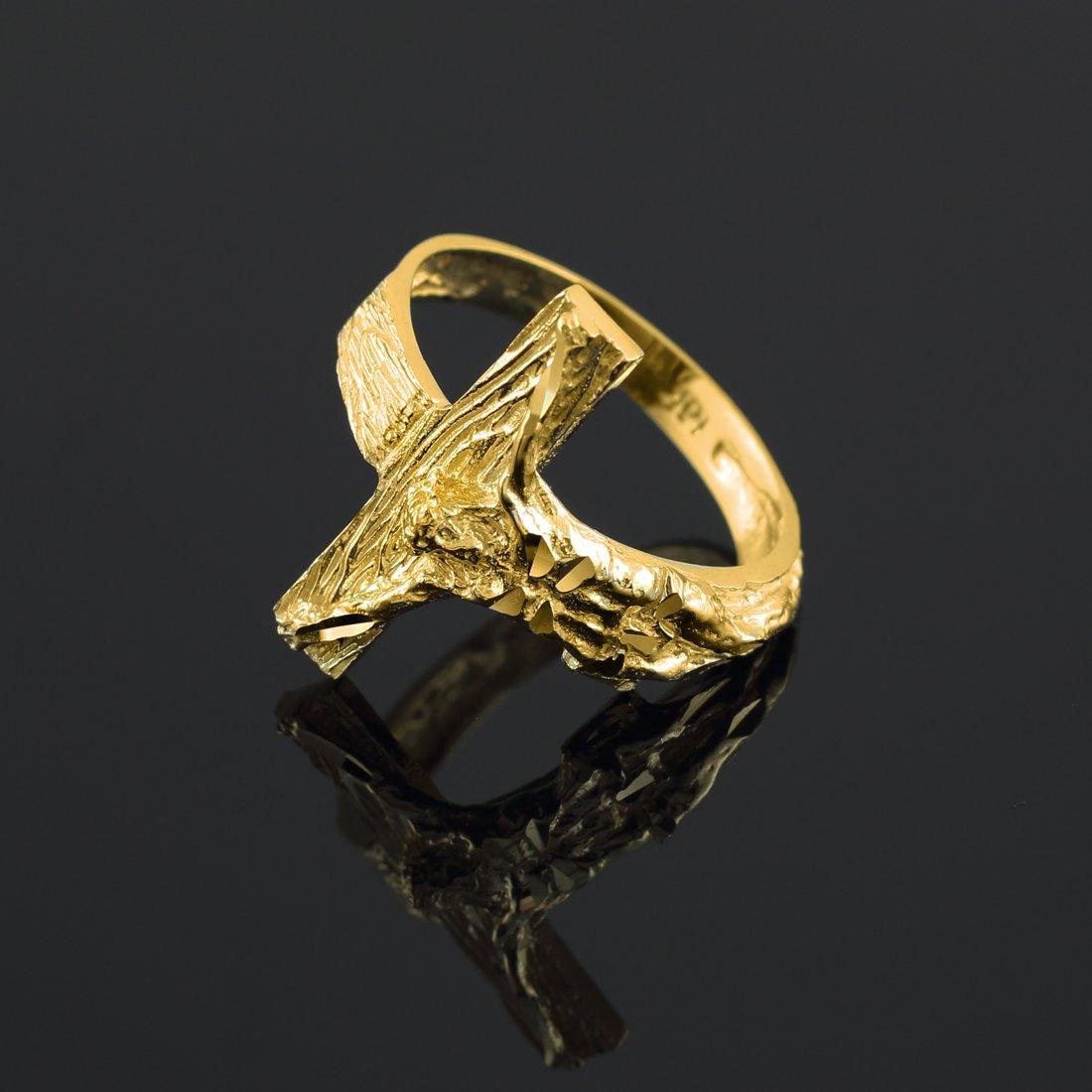 10k Yellow Gold Crucifix Cross Band Ring