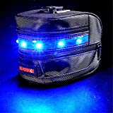Baiyu Waterproof Large Expandable Bicycle Bag / Saddle Bike Bag Tail Bag Bike Pouch Seat Bag Rear Rack Tail Pack Packets Bright LED Light of Bicycle Wheel Lights Tail Light--Blue