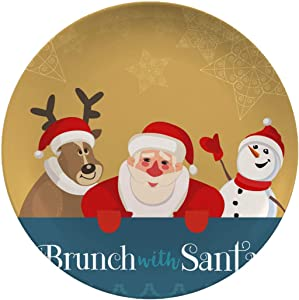 Christmas Ceramic Stoneware Dinner Plates,Brunch With Santa,dinner Plates Set Plate For Home And Kitchen,dinner Dishes,8 Inch 6 Piece Set