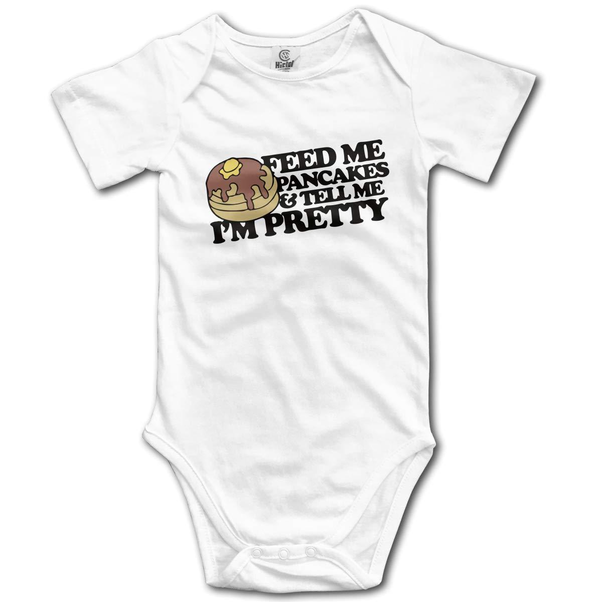 CDHL99 Feed Me Pancakes and Tell Me Im Pretty Infant Baby Boys Girls Short Sleeve Romper Pajamas 0-2T