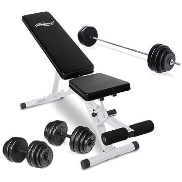 Physionics® - HNTLB03-SET1 - Banco de pesas + mancuernas 30kg - Pesas 60kg: Amazon.es: Deportes y aire libre
