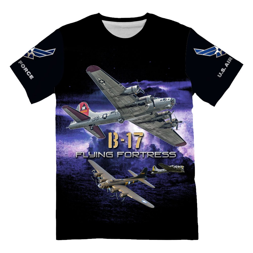 NIWAHO America Air Force USAF B-17 Flying Fortress T-Shirt by NIWAHO