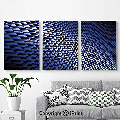 Wall Art Decor 3 Pcs High Definition Printing Curvy Carbon Fiber Texture Image Abstract Industrial Modern Grid Painting Home Decoration Living Room Bedroom Background,16