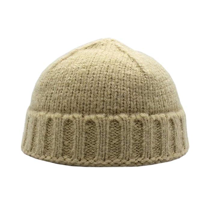 cae0e9caac24a YueLian Unisex Men s Womens Winter Docker Hat Beanie Hip Hop Knitted Hat Cap  Solid Colour (Beige)  Amazon.co.uk  Clothing