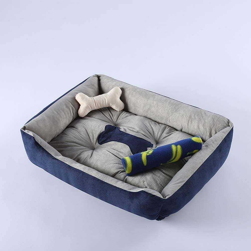 S 60x45x15cm Washable Pet House Bed Cushion for Small Puppy Cats Medium Large Giant Dogs Bedding + Pillow + Summer Sleeping Mat + Blanket (Navy bluee)