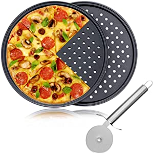 "Pizza Baking Set, 12"" Serving Plate Pizza Tray Tin, Oven Grill Rack Non Stick Trays, 2 Pack Pizza Crisper Tray and 1 Pack Pizza Cutter Wheel"