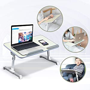 ETE ETMATE Adjustable Laptop Stand with Cooling Fan, Foldable Bed Tray Table with Lifting Legs, Notebook Stander for Reading and Writing on Bed Sofa Floor