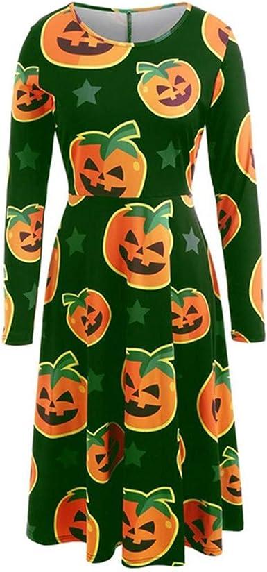 CLOOM Talla Grande Vestido Halloween Moda Calabaza Impresión Falda ...