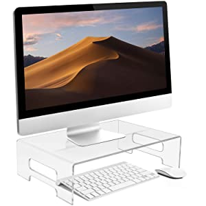 Sorbus Acrylic Monitor Riser, Laptop, Computer Desktop Stand, Clear Desk Display Tray Shelf with Carry Handles, Jewelry, Laptop Monitor, Showcase Fixtures, Food Service Display Risers (Large)