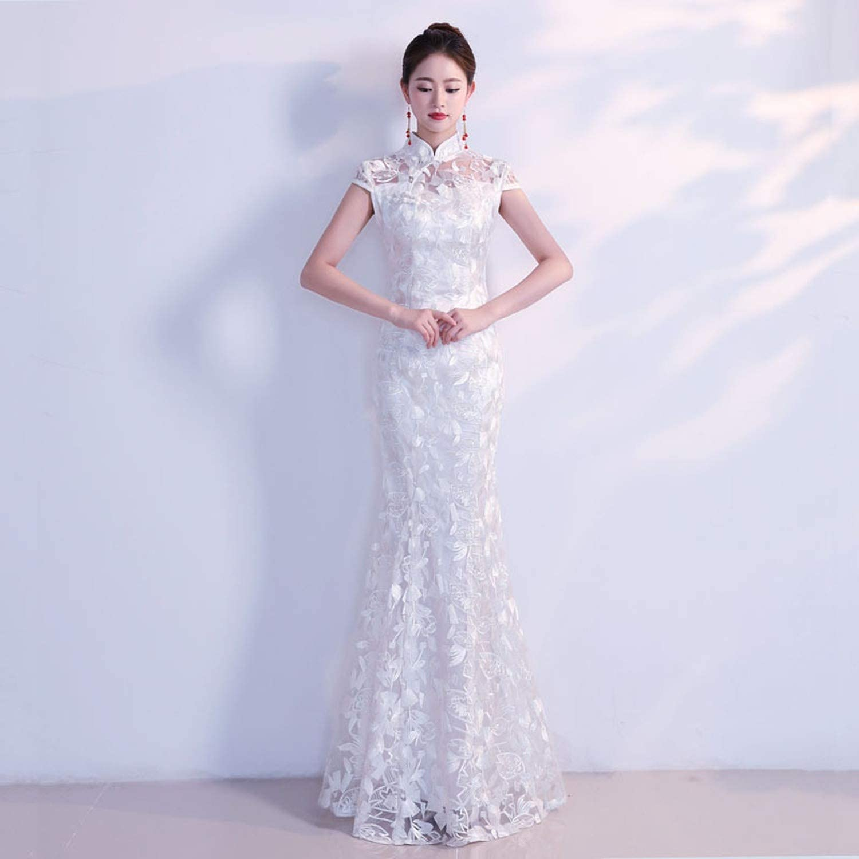 Amazon Com White Traditional Chinese Wedding Dress Sexy Qipao